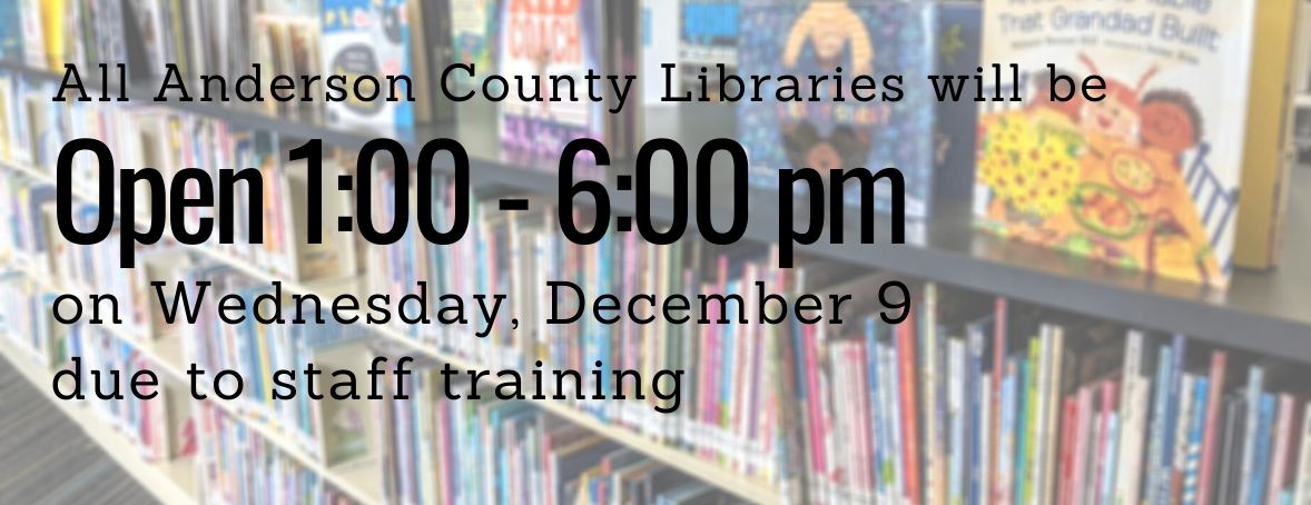 Libraries open 1 to 6 pm on December 9 due to staff training.