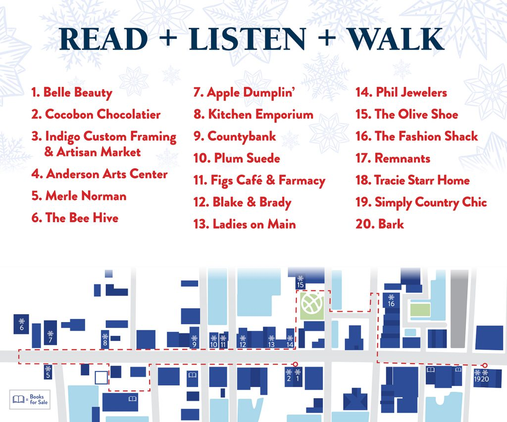 Read, listen and walk. A map of downtown Anderson with the storywalk stops listed.